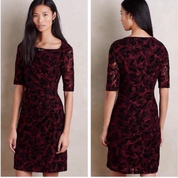 Anthropologie Dresses & Skirts - Maeve Burgundy & Black Rouched Lace Dress Sz 2